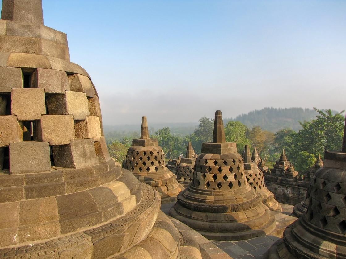 """Borobudur Temple landscape"" stock image"
