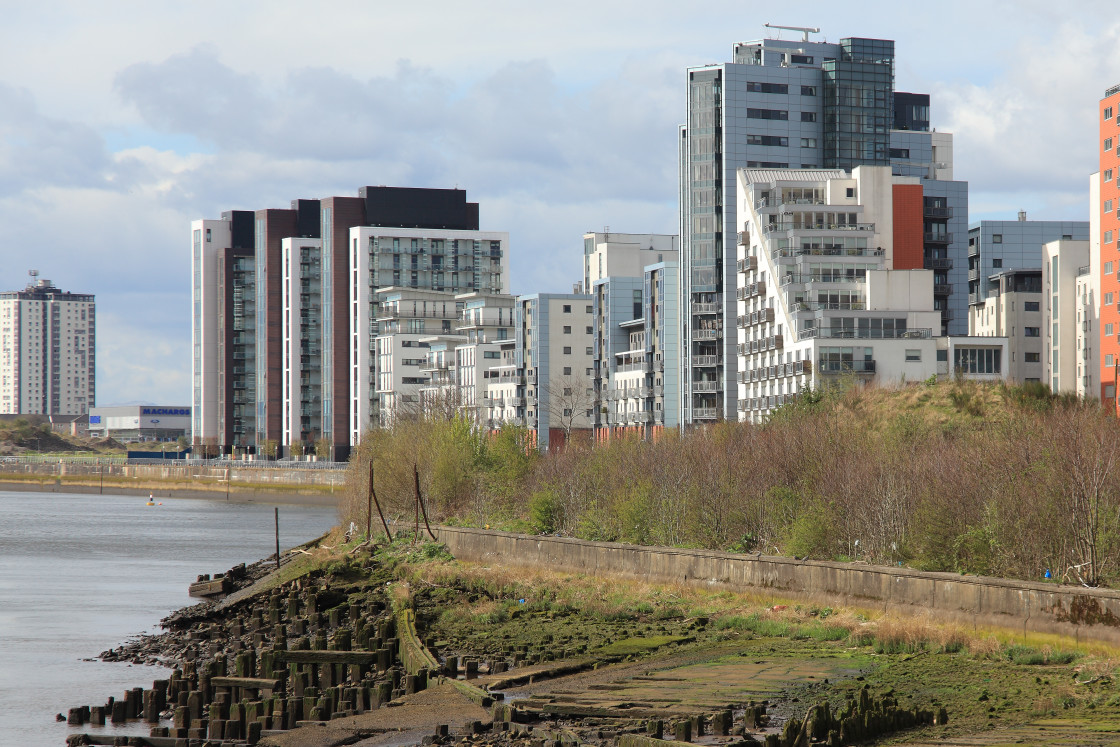 """Regeneration, River Clyde, Glasgow, Scotland"" stock image"