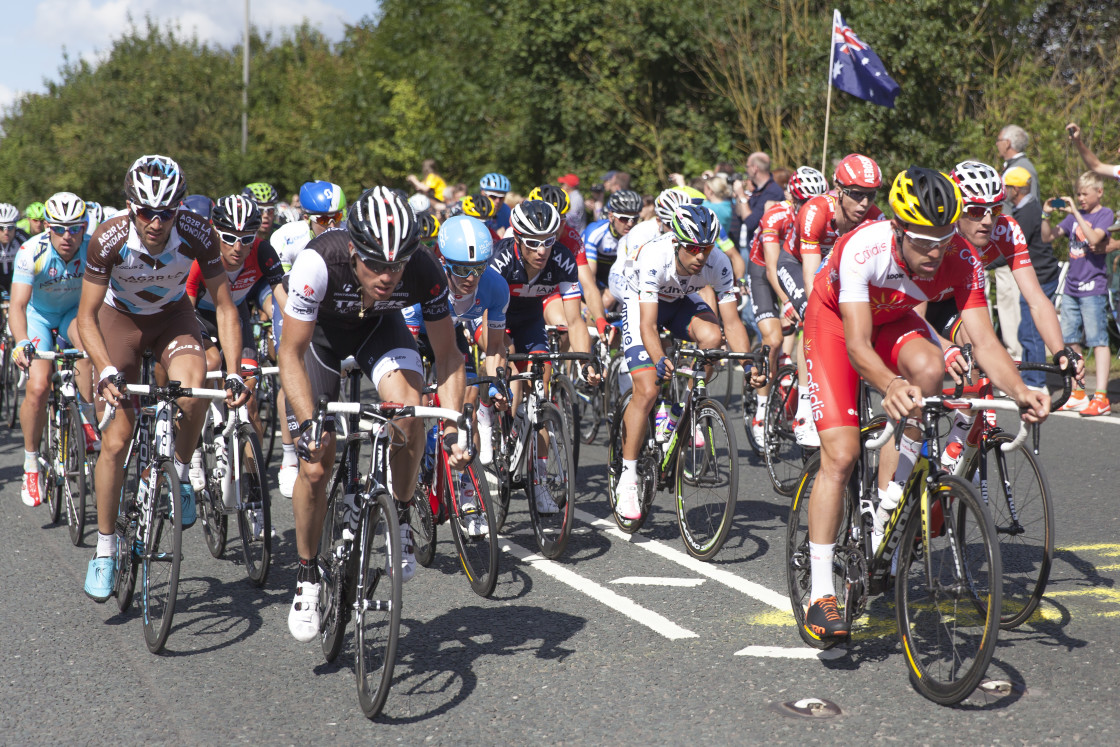 """Tour de France, Grand Depart, Yorkshire, England 2014"" stock image"