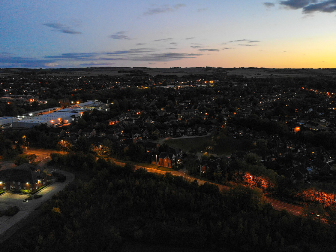 """Wantage at Dusk from above"" stock image"