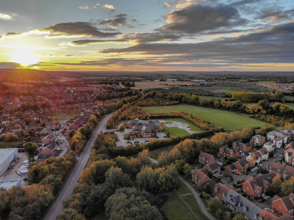 """Wantage Health Centre at sunset, October 20"" stock image"