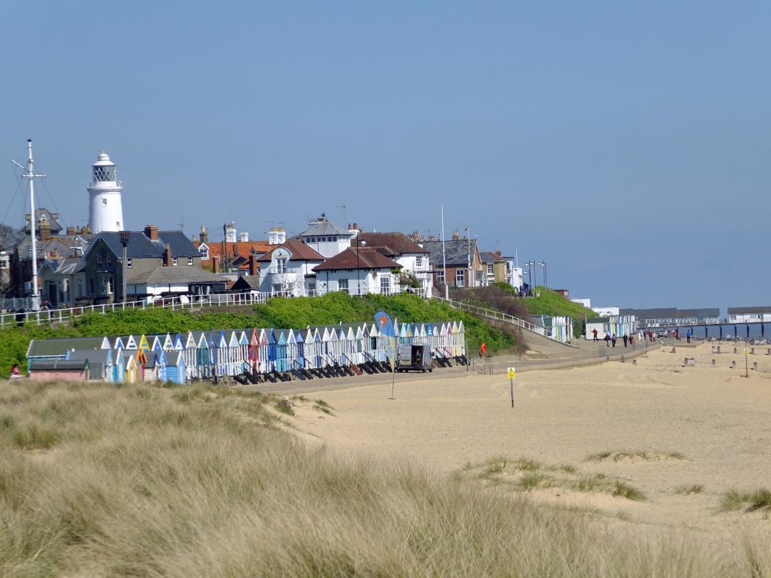 """""""Southwold Suffolk Beach Huts"""" stock image"""