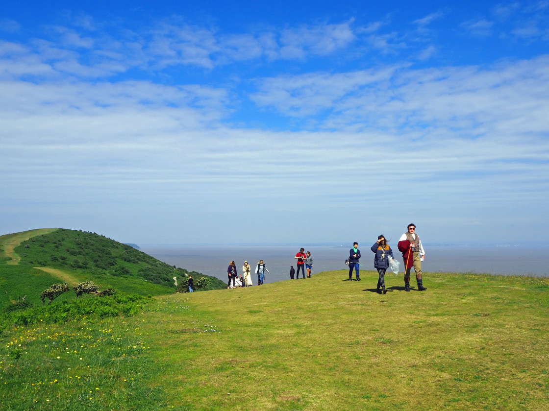 """Sanditon filming on Brean Down Somerset"" stock image"