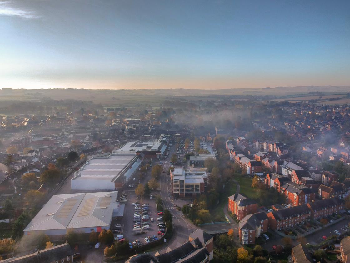 """Foggy November Morning over Wantage."" stock image"