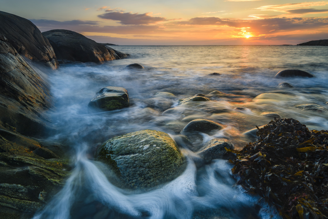 """""""Coastal scene at sunset"""" stock image"""