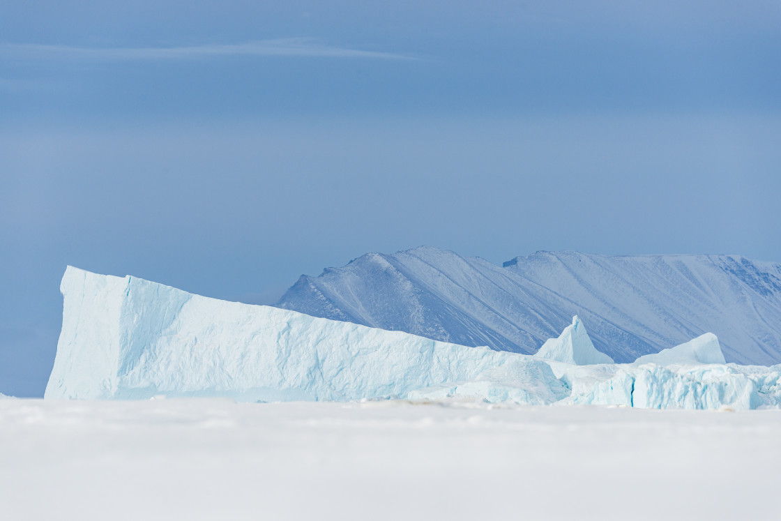 """""""Icebergs in front of mountain"""" stock image"""