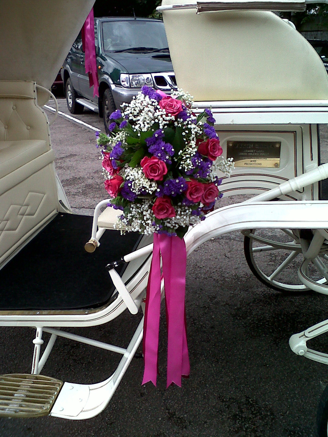 """""""Wedding Flowers On a horse drawn Carriage"""" stock image"""