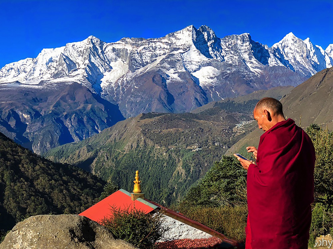 """Buddhist monk in Himalayas of Nepal"" stock image"