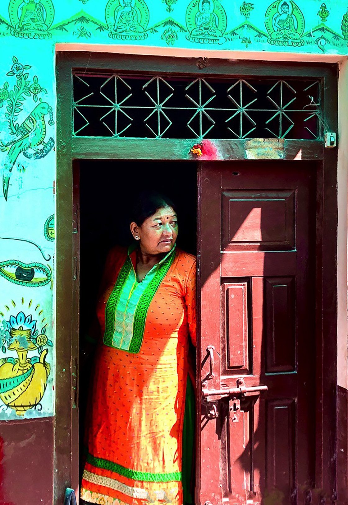 """Woman in Doorway, Katmandu"" stock image"