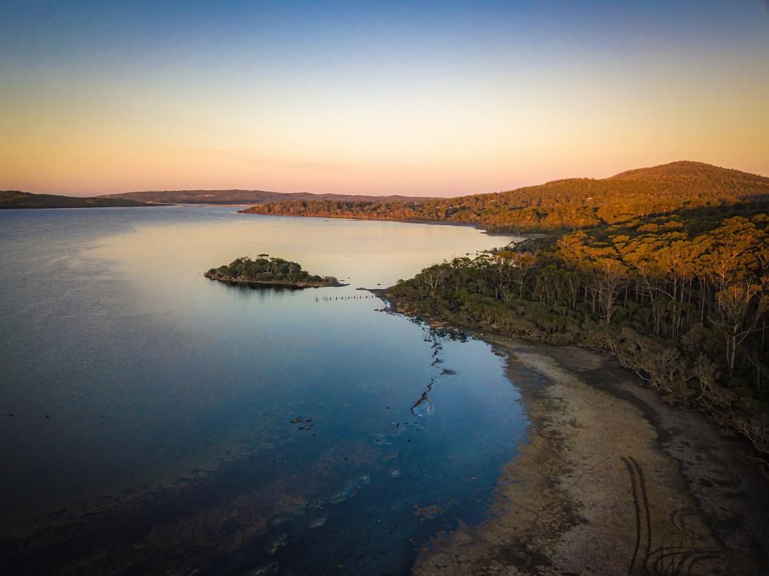 """Honeymoon Cove Dawm Aerial"" stock image"