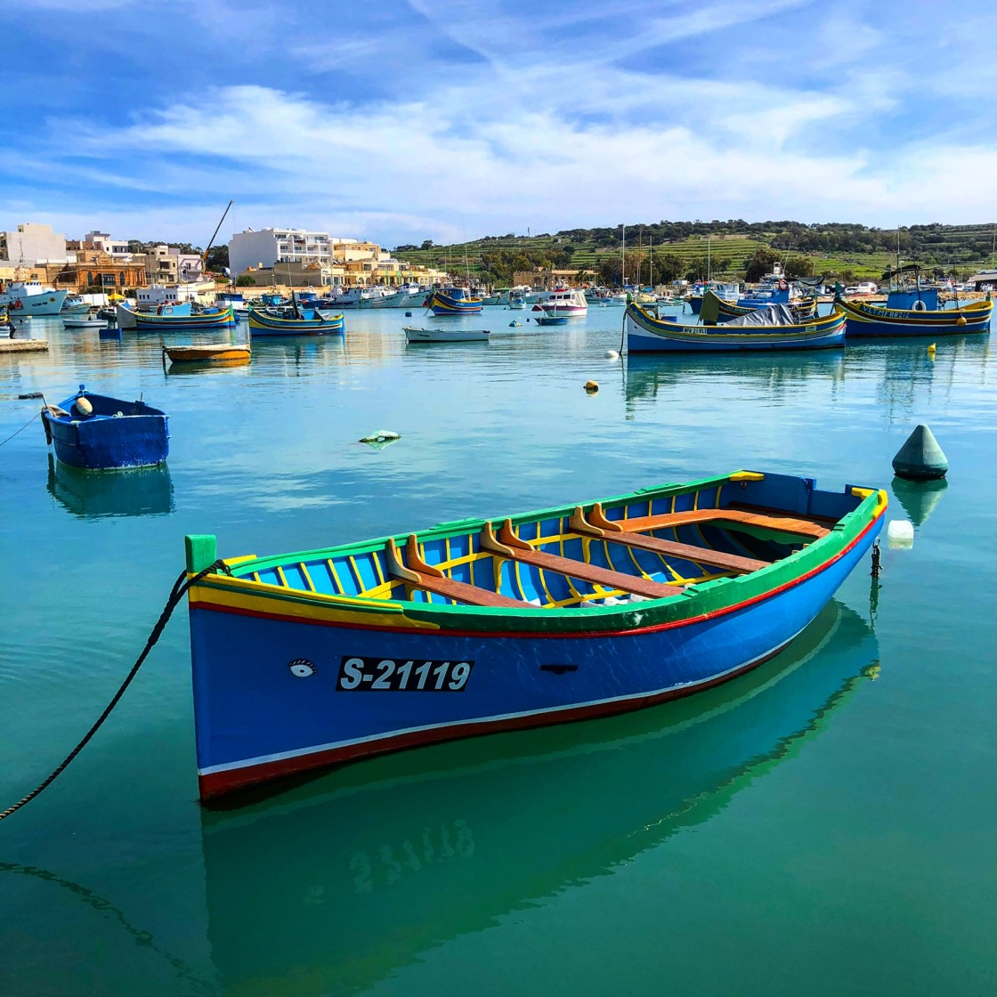 """Marsaxlokk Fishing Fleet"" stock image"