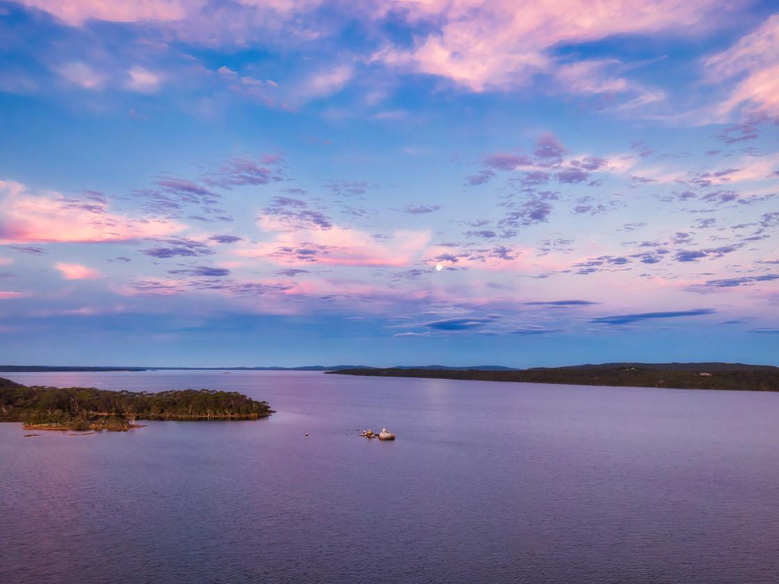 """Aerial Cove Full Moonrise"" stock image"