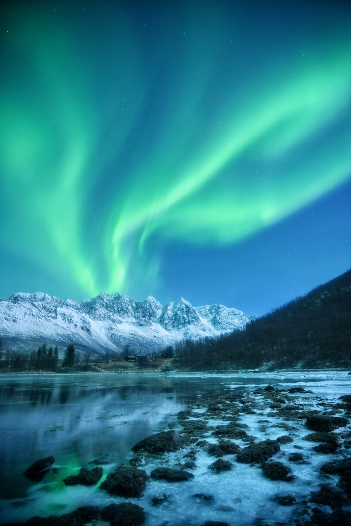 """""""The Lights Behind The Mountain"""" stock image"""