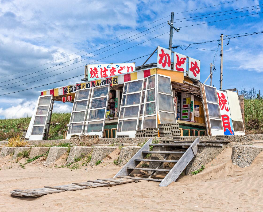 """Traditional seafood cafe, Chirihama Beach, Japan ."" stock image"