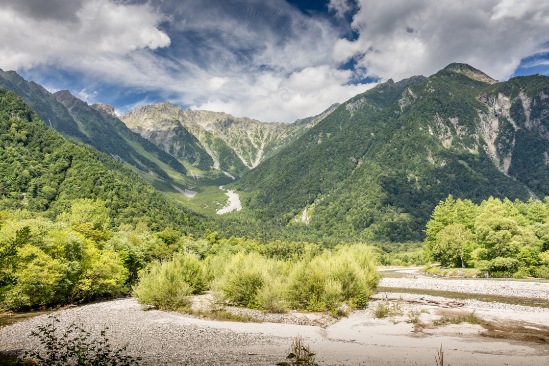 """""""Mountains and valley, Kamikochi, Japan."""" stock image"""