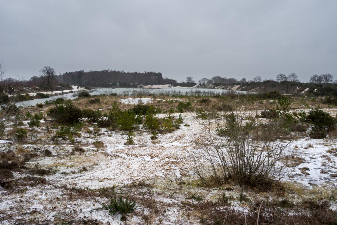"""Wintery Gravel Pit"" stock image"