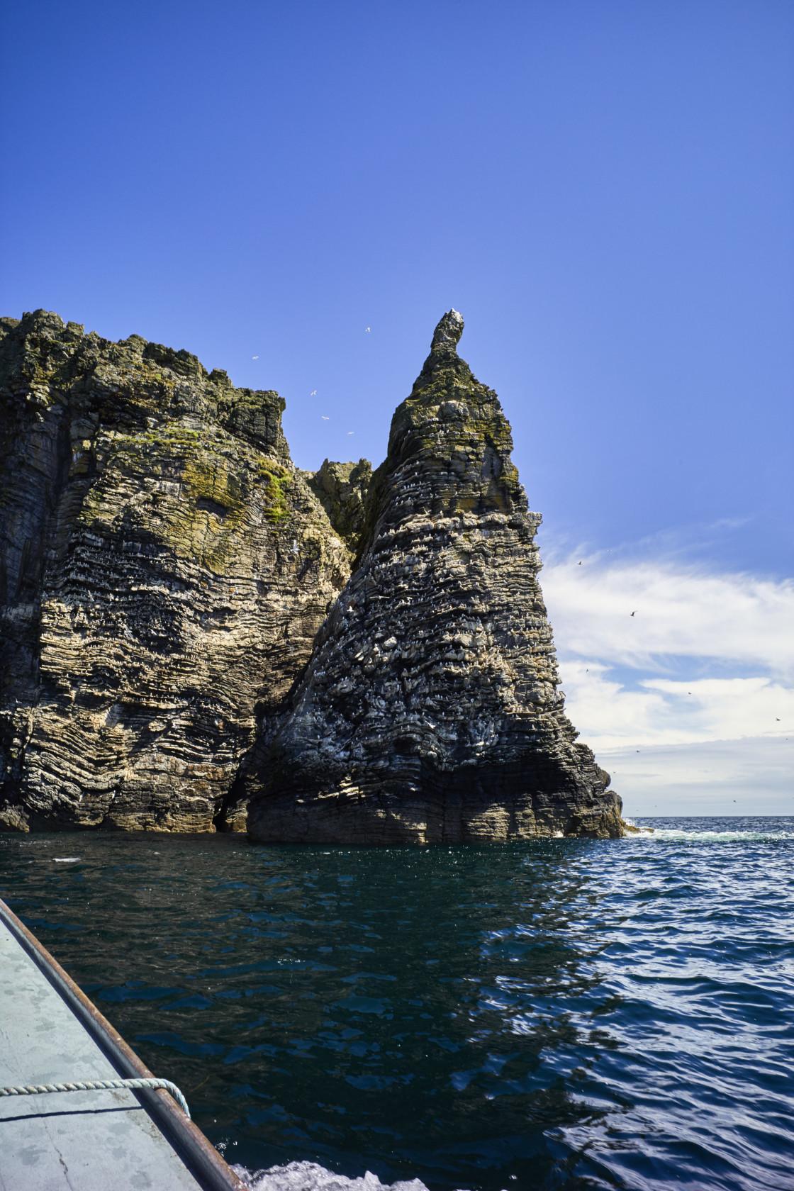 """Sugarloaf rock at the Chasms, Isle of Man"" stock image"