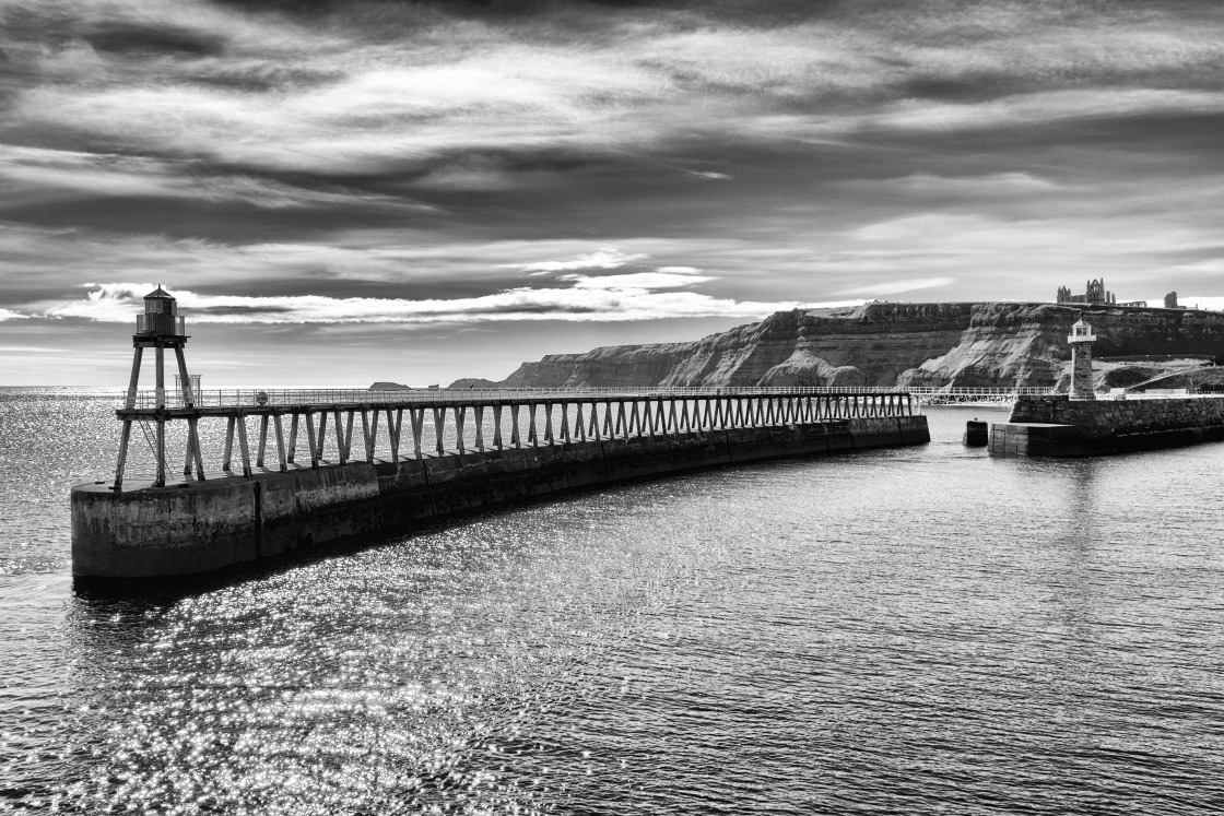"""""""Whitby East Pier"""" stock image"""