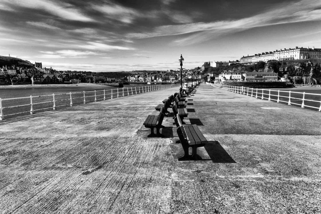 """""""Pier into Whitby"""" stock image"""