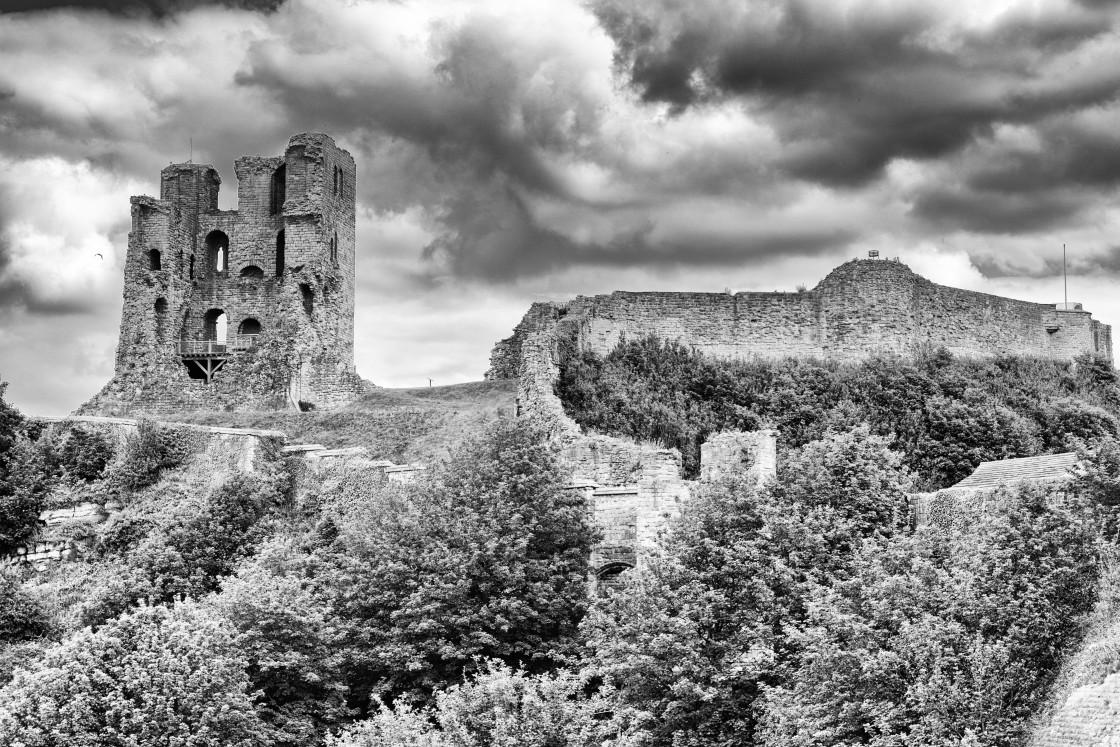 """Castle above Scarborough"" stock image"