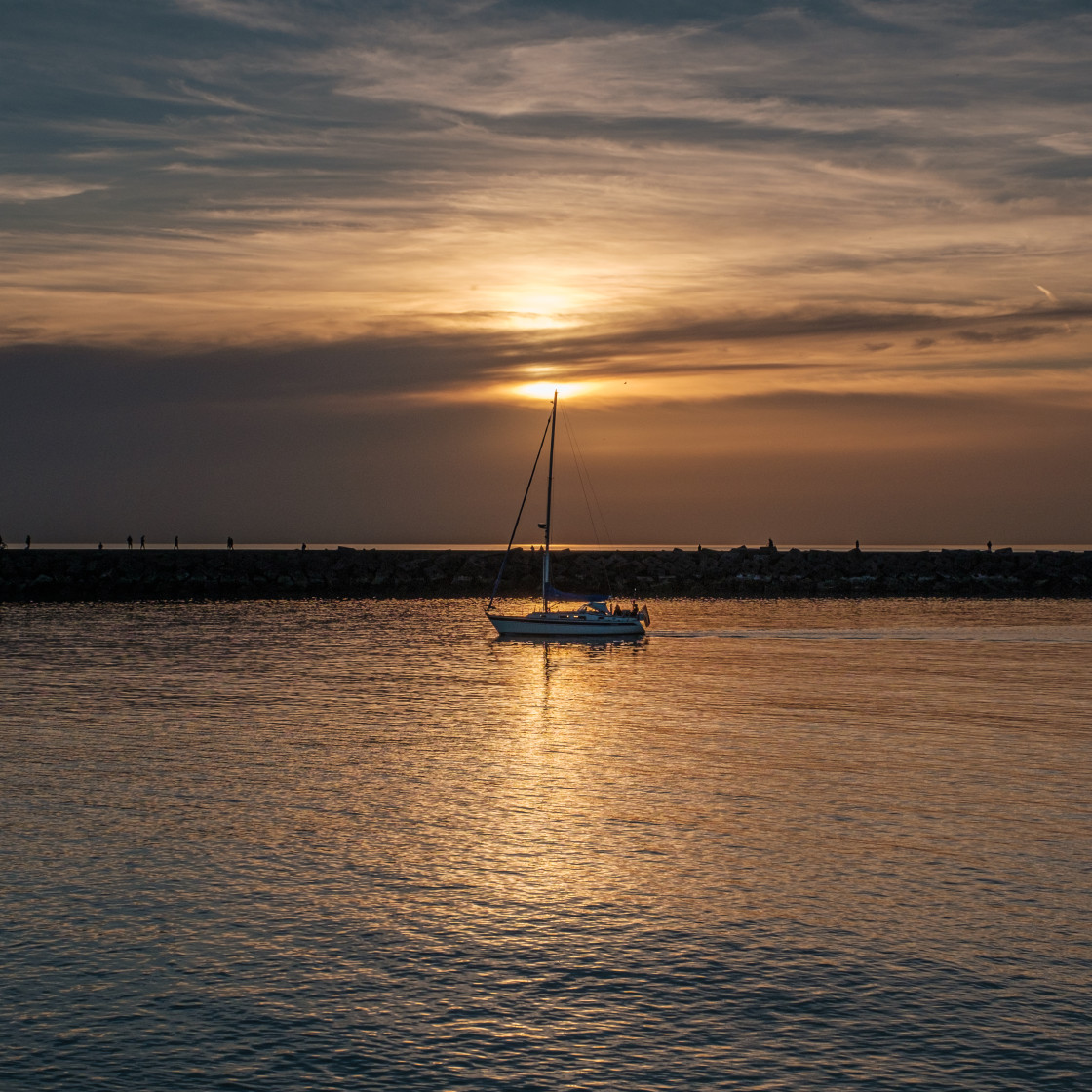 """""""Sunset at the harbour."""" stock image"""