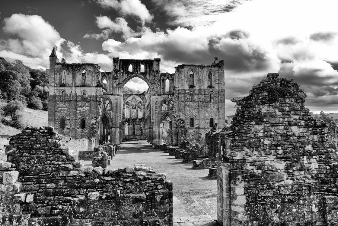 """Long View of Rievaulx Abbey"" stock image"