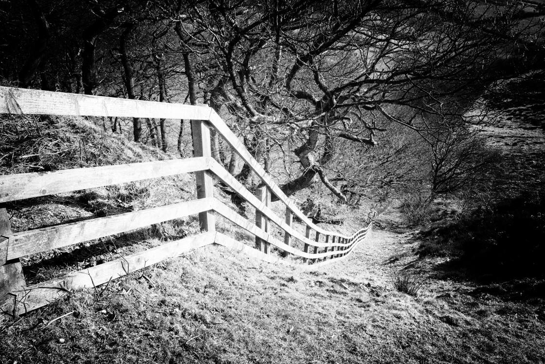 """White Fence on the Moors"" stock image"