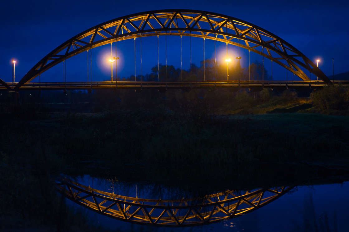 """""""Tynset Bridge early morning with reflection in the water"""" stock image"""