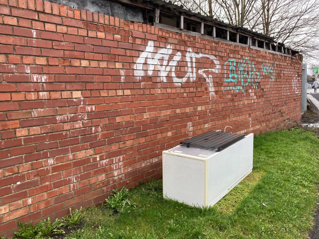"""""""Discarded fly-tipped fridge freezer, UK."""" stock image"""