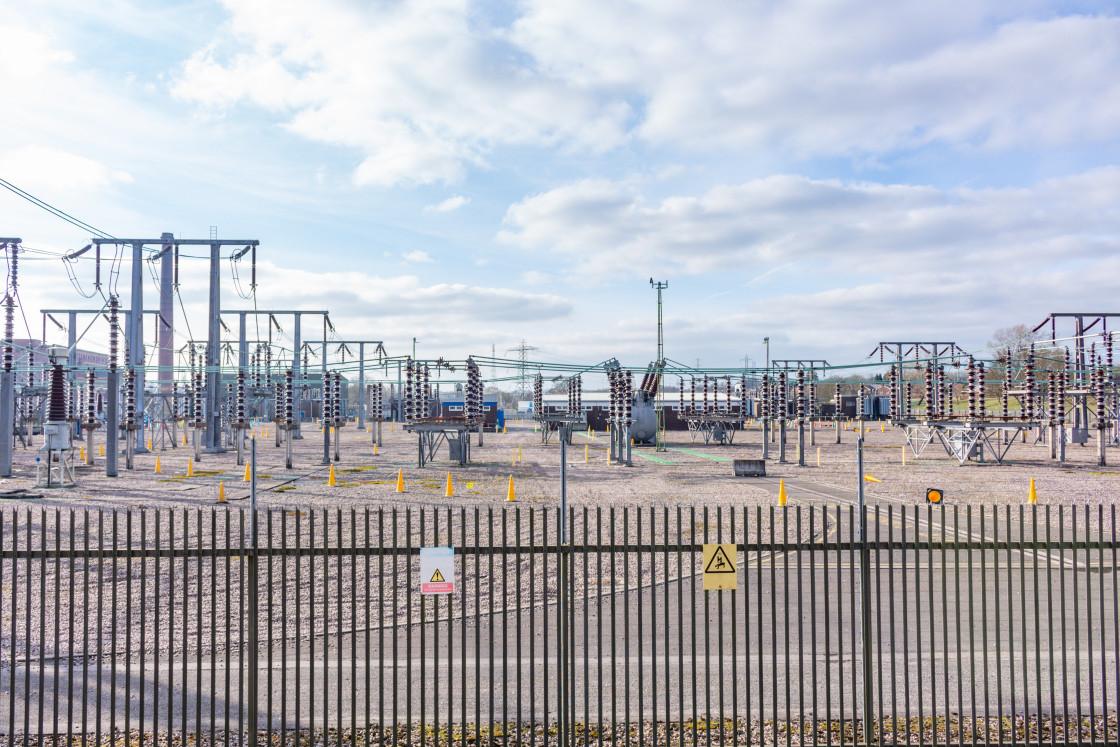 """""""Electricity substation, Bedbury, Stockport, UK."""" stock image"""