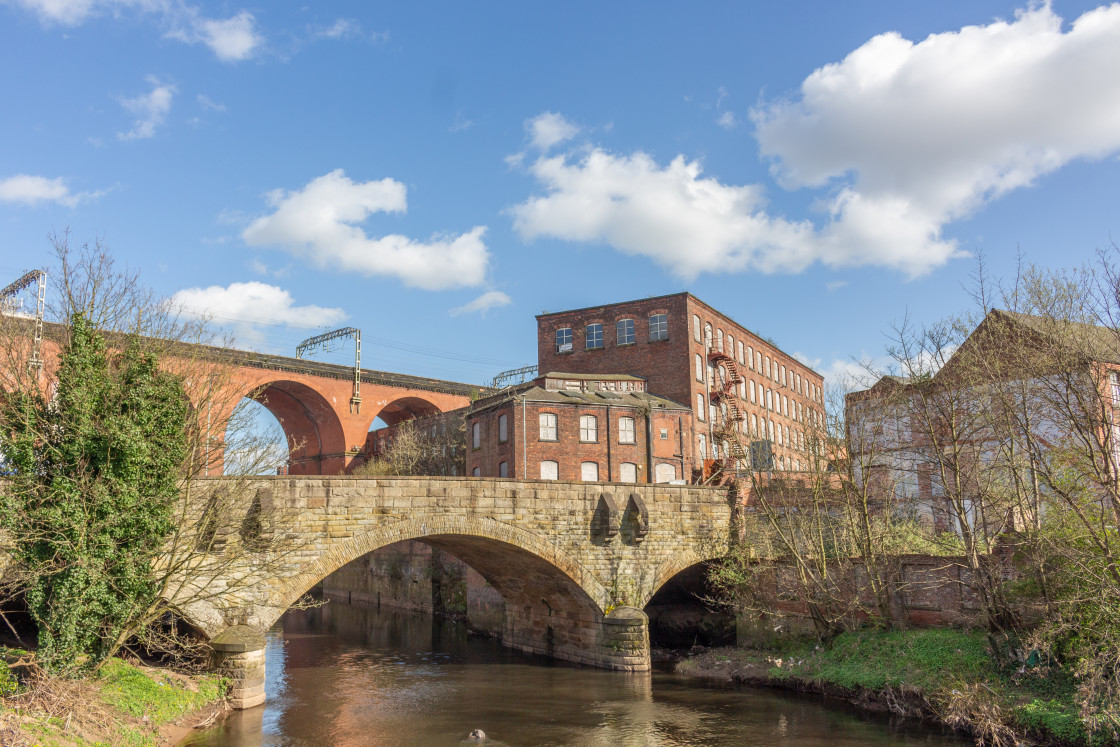 """""""Stockport viaduct over the River Mersey, UK."""" stock image"""
