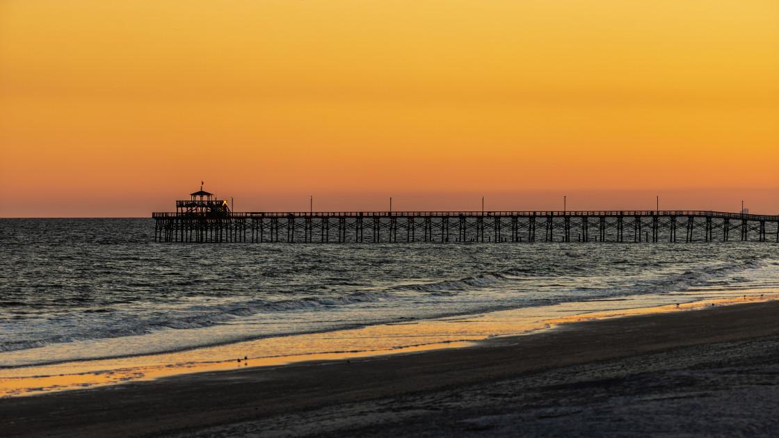"""Sunset at Cherry Grove Pier"" stock image"