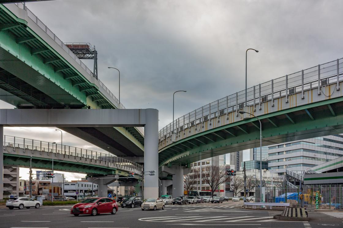 """Large concrete overhead highways. Nagoya, Japan."" stock image"