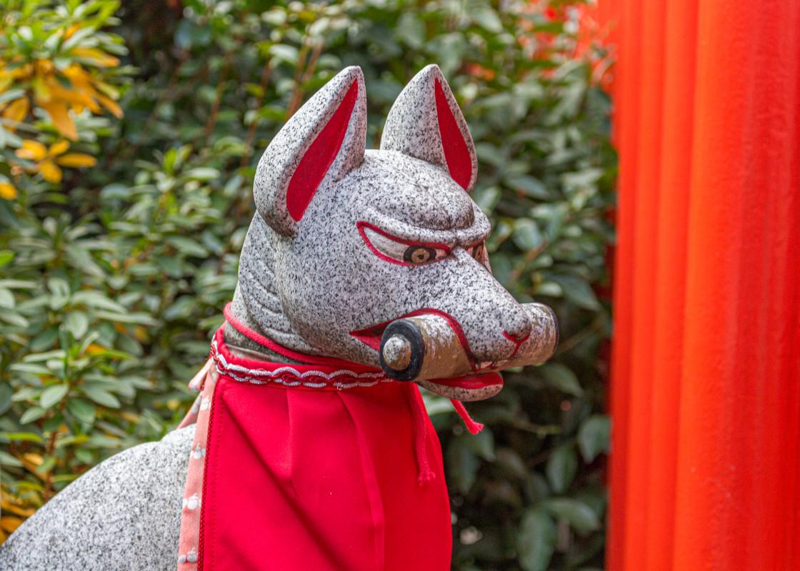 """""""Fox (kitsune) messenger of the god inari. Nagoya, Japan."""" stock image"""