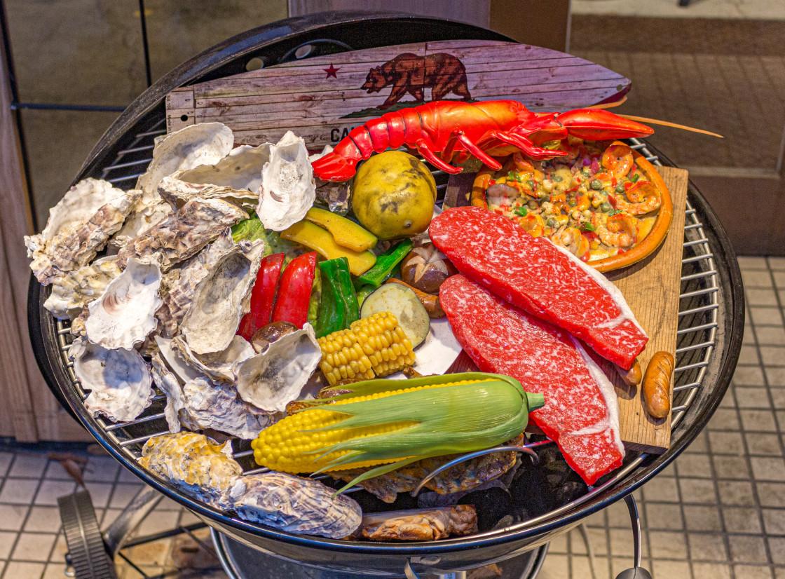"""Plastic food display outside restaurant, Nagoya, Japan."" stock image"