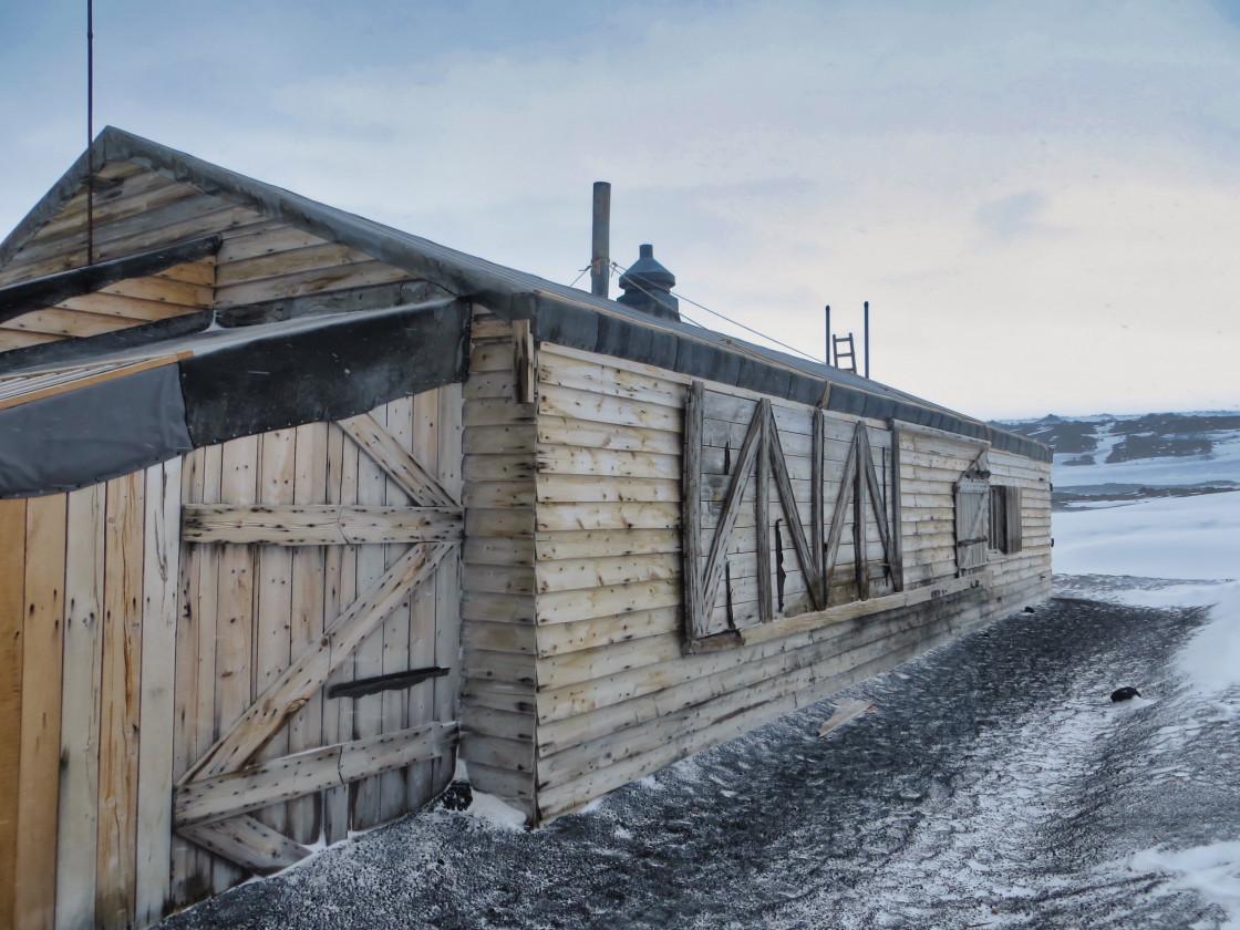 """Side view of Terra Nova Hut at Cape Evans"" stock image"
