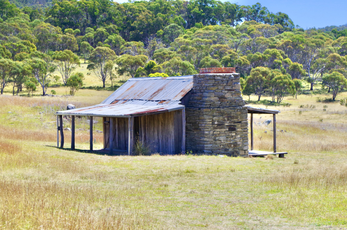 """Brayshaws Pioneer hut in Namadgi National Park"" stock image"