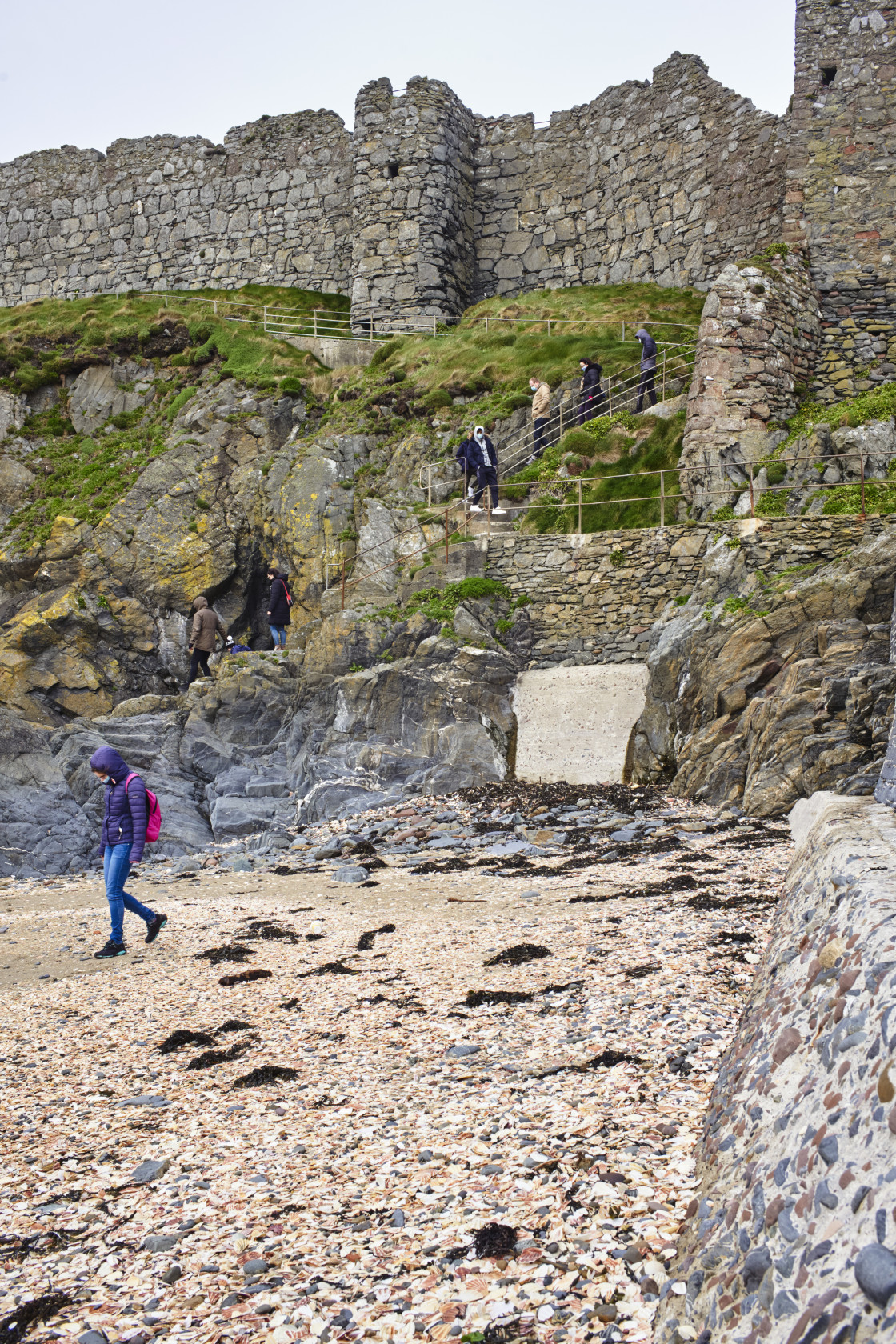 """""""Peel Castle from the beach"""" stock image"""