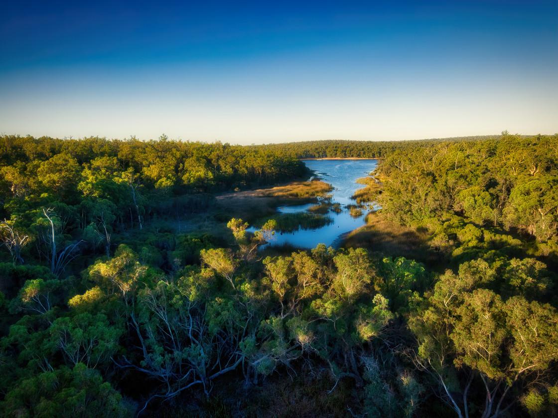 """Lake Leschenaultia Aerial"" stock image"