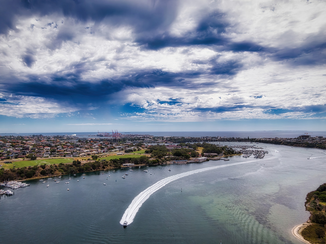 """""""Swan River Scene with Motor Launch"""" stock image"""