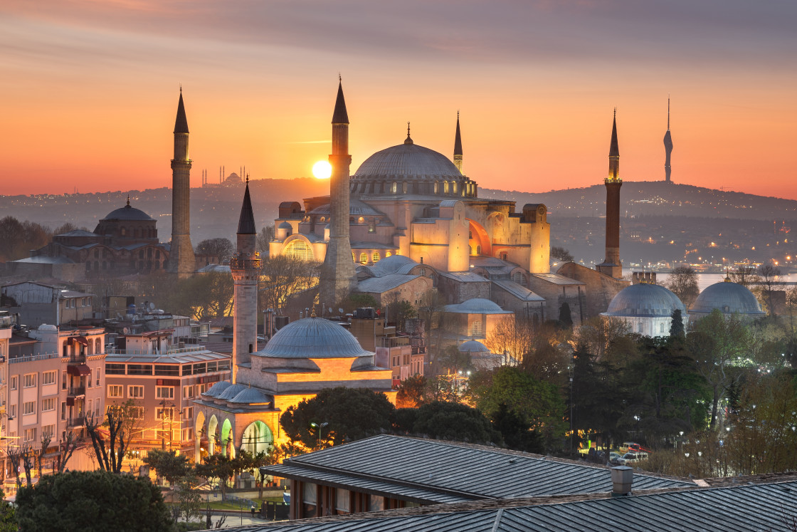 """The majestic Hagia Sophia taken at sunrise in Istanbul, Turkey"" stock image"