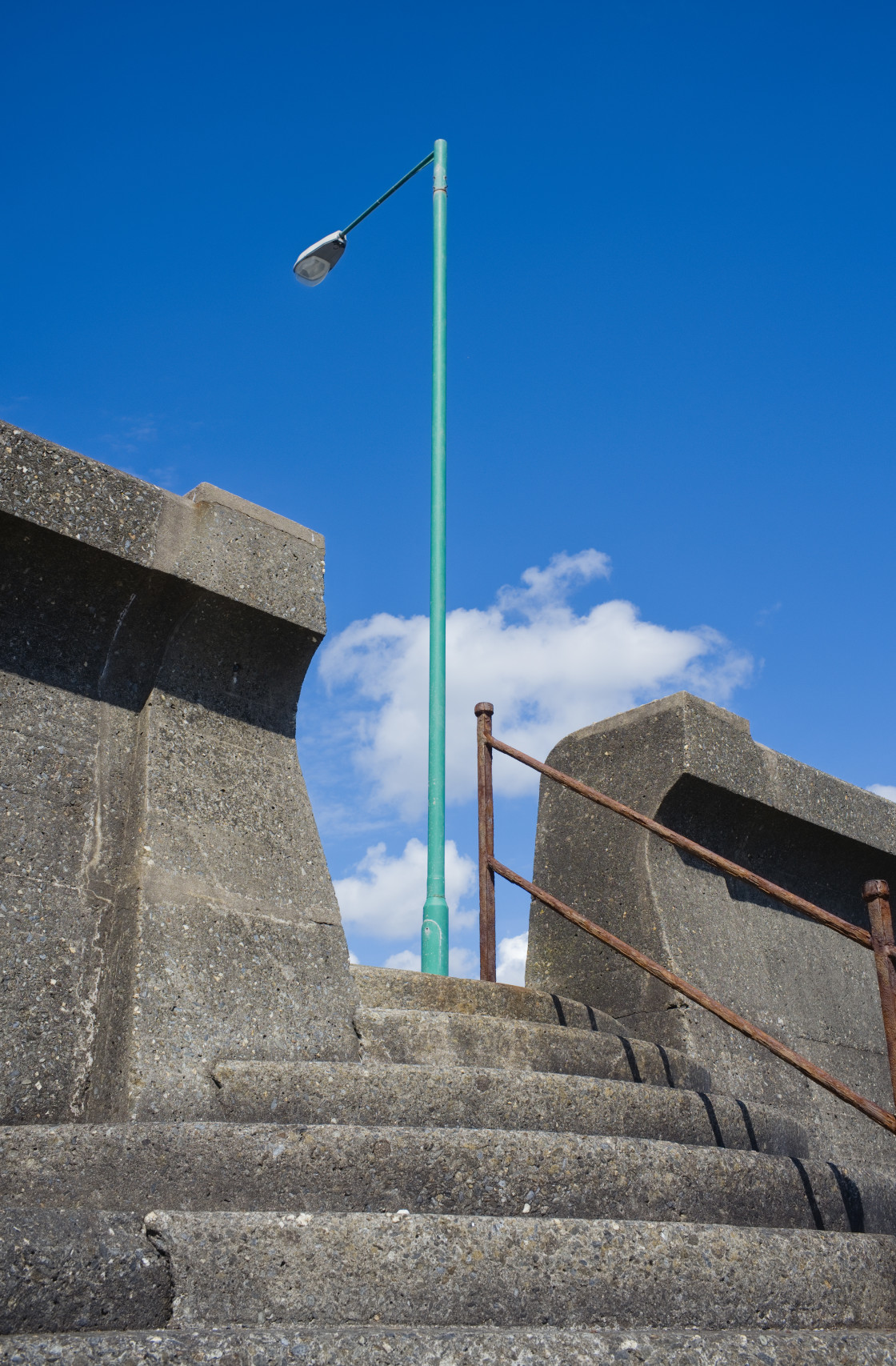 """""""Concrete steps and a lampost"""" stock image"""