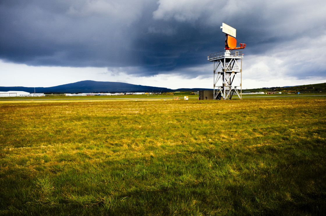 """""""Radar installation against storm clouds"""" stock image"""