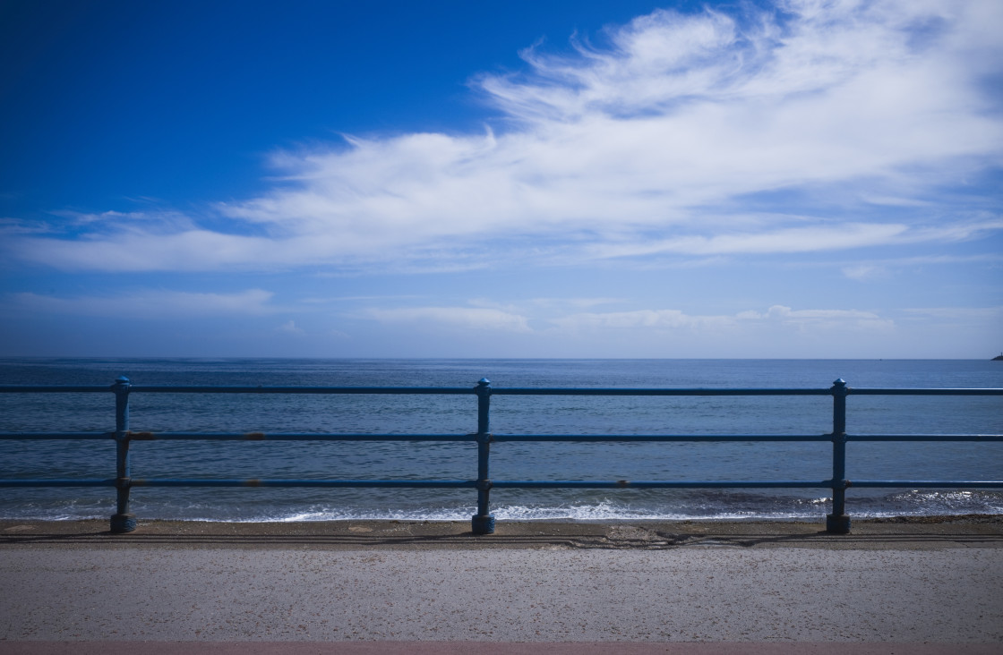 """""""Seafront view through railings"""" stock image"""