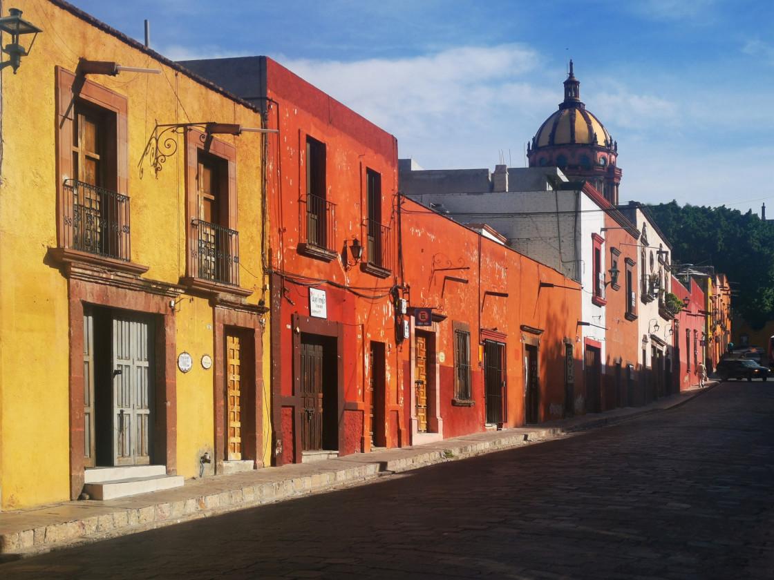 """Street at sunset, San Miguel de Allende"" stock image"