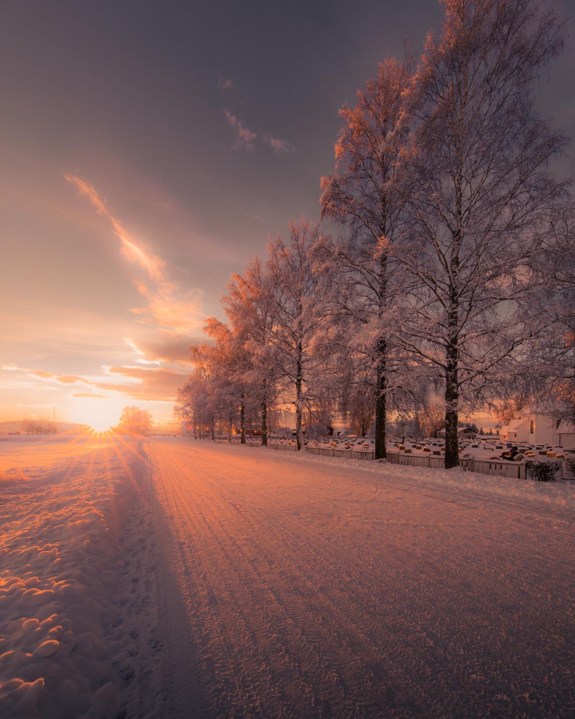 """""""Sunset Road. Photo by Thomas Waerness"""" stock image"""
