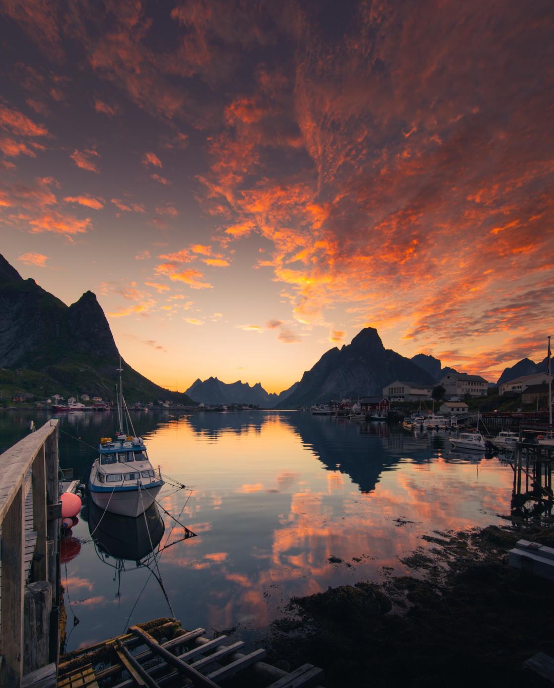 """Sunset in Reine, Lofoten Islands. Photo by Thomas Waerness"" stock image"