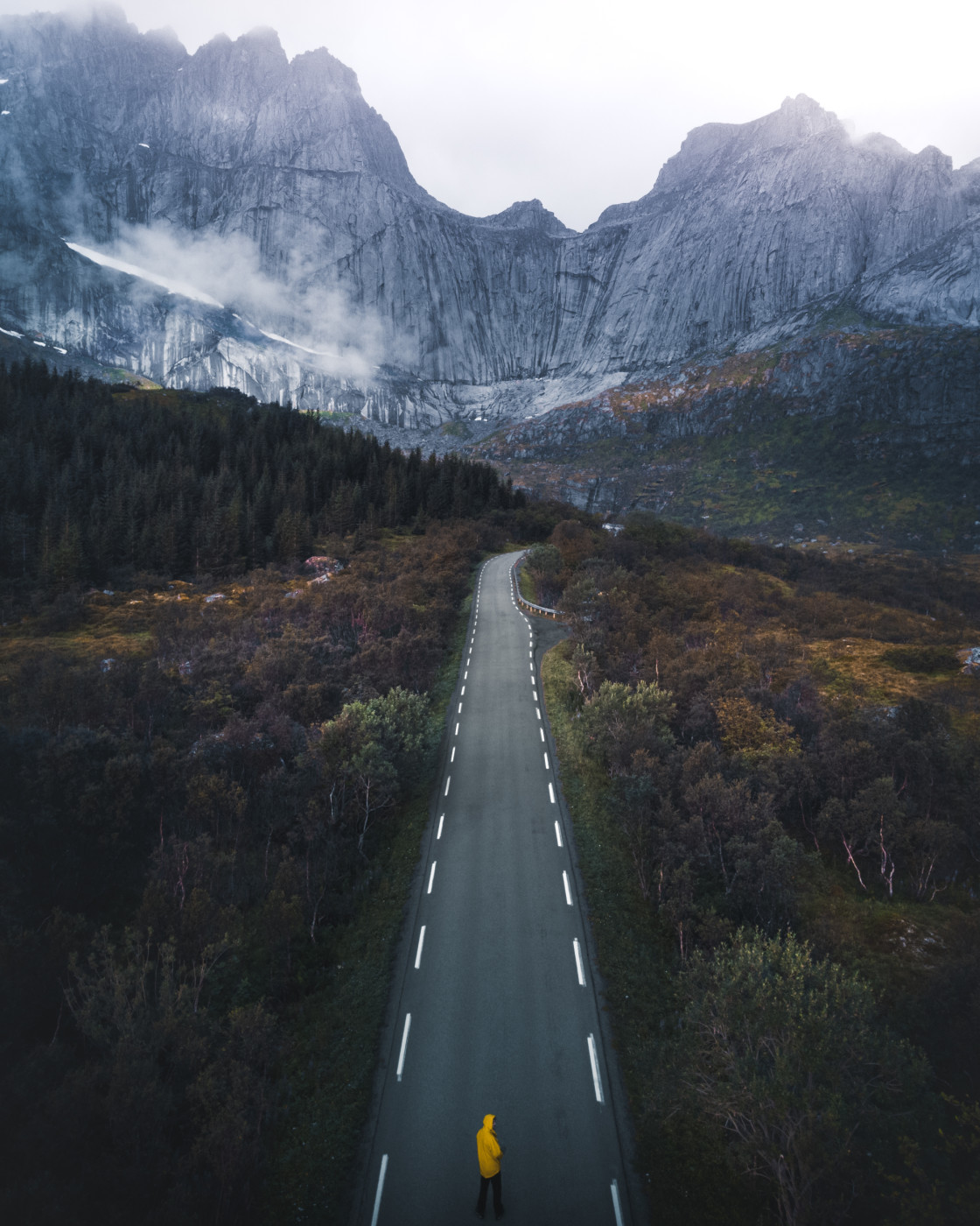 """""""The Road to Nusfjord, Lofoten Islands. Photo by Thomas Waerness"""" stock image"""
