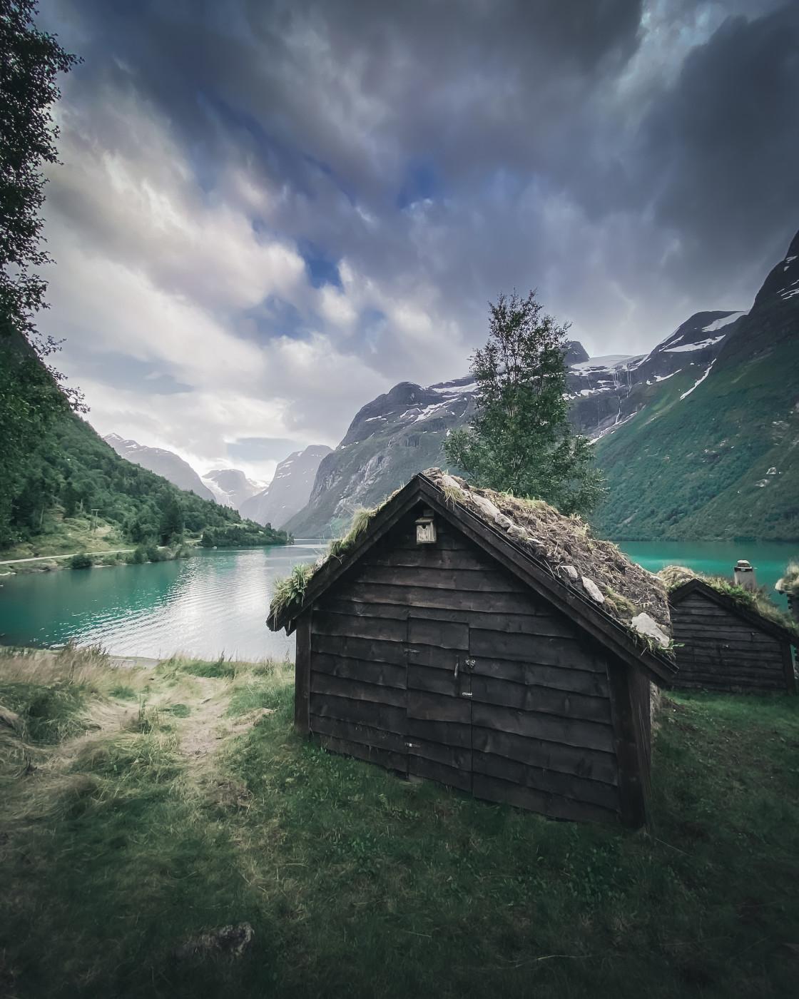 """Village in Loen, Norway. Photo by Thomas Waerness"" stock image"