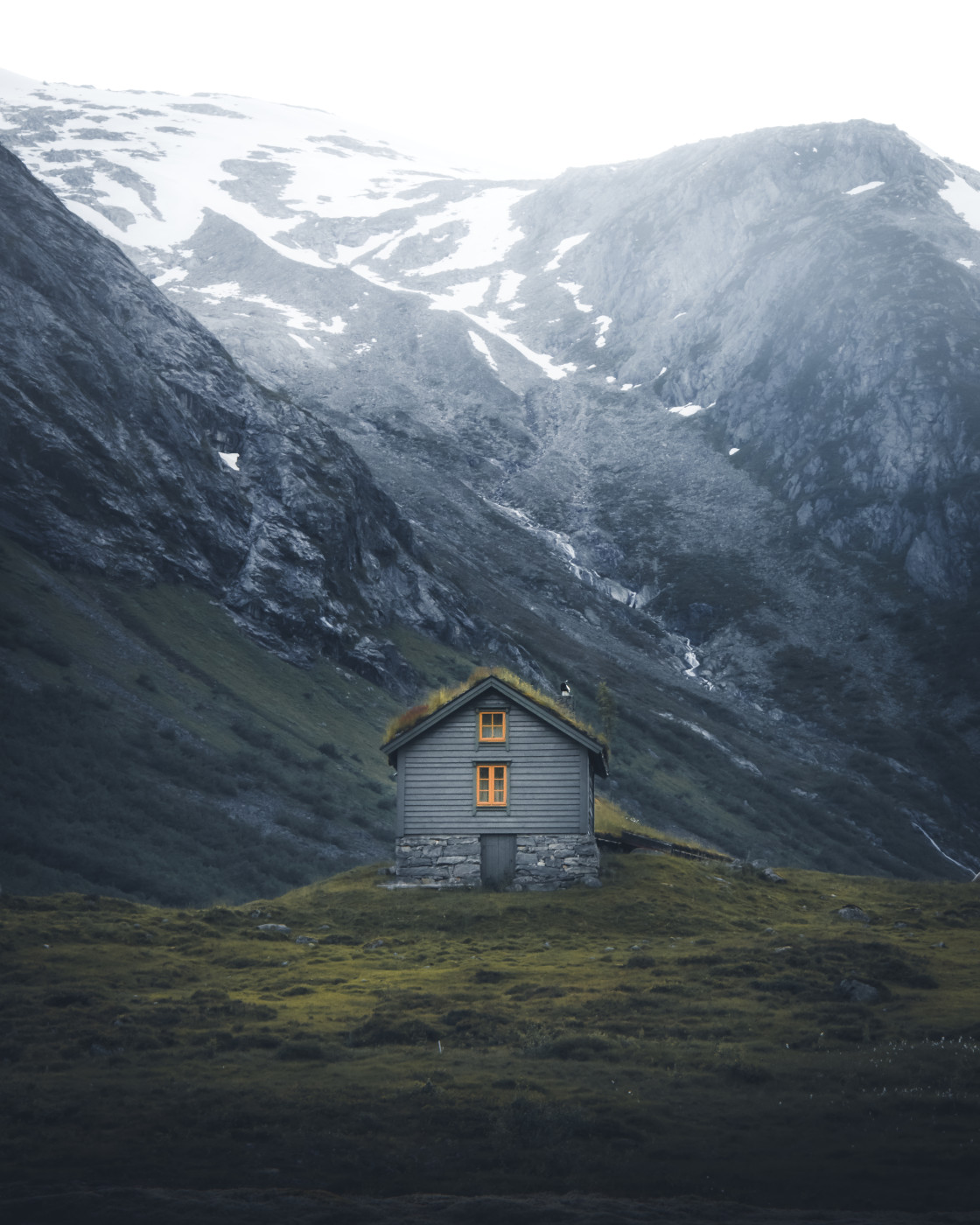 """""""Cabin in the Mountains. Photo by Thomas Waerness"""" stock image"""